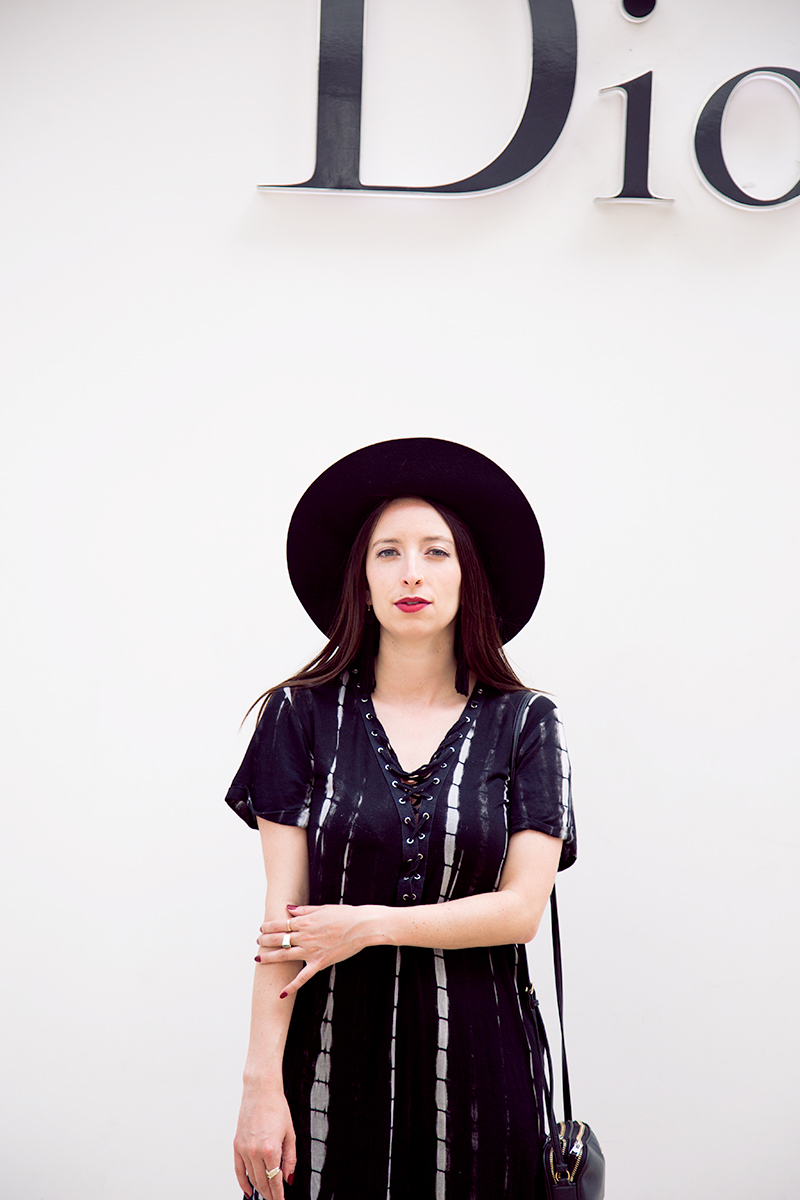 Black Floppy Hat styled by popular Los Angeles fashion blogger Nomad Moda